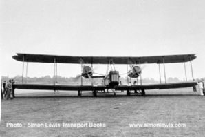Vickers Vimy  Bomber biplane , possibly at Brooklands airfield circa 1920